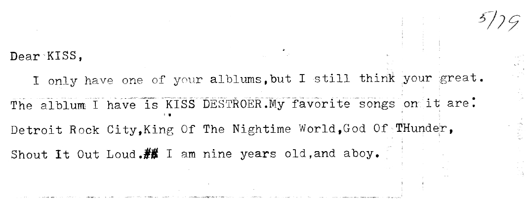 My letter to Gene Simmons of KISS, May 1979